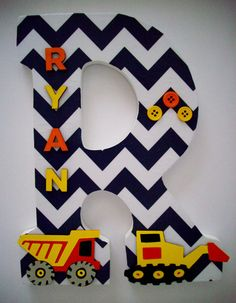 Construction Trucks / Wood Letters/ Wall by cathyscraftycovers