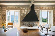 living room with fireplace | A STONE HOUSE ON A CROATIAN ISLAND