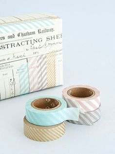 Versatile Japanese masking tape. This tape tears easily, is low-tack and removable, giving it many crafting opportunities. The colourways are blue, gold, pink and beige. Each roll is 15mm wide...