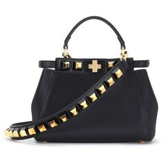 Women's Fendi Mini Peekaboo Studded Leather Bag ($3,900) ❤ liked on Polyvore featuring bags, handbags, shoulder bags, miniature purse, lambskin handbags, top handle handbags, fendi and lambskin purse