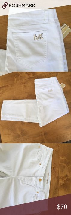 Michael Kors skinny jeans NWT size 10 with gold Michael Kors NWT skinny jeans size 10 gold accent Michael Kors Jeans Skinny