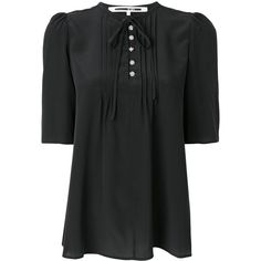 McQ Alexander McQueen front bow-tie blouse ($465) ❤ liked on Polyvore featuring tops, blouses, black, flare blouse, short-sleeve blouse, short sleeve silk top, bow blouses and bow top