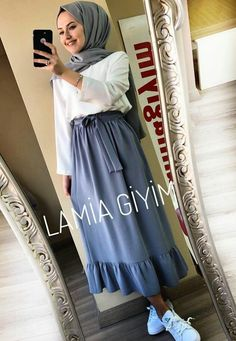 Modern Hijab Fashion, Arab Fashion, Muslim Fashion, Modest Fashion, Skirt Fashion, Fashion Dresses, Hijab Style Dress, Casual Hijab Outfit, Hijab Chic