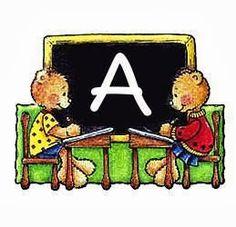 Alfabeto de ositos en la escuela.