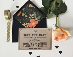 Kraft Paper Wedding Save the Date Card, Modern Woodsy Rustic Wedding, magnet or postard