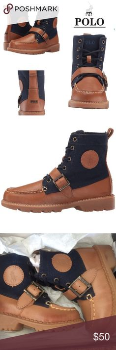 """Polo infant """"ranger boot"""". NIB Ranger boots by Polo are designed for style and support for infants hiking/walking or simply lounging in style. Black and Tan. NIB Polo by Ralph Lauren Shoes Boots"""