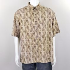 Axis LA Shirt Paisley Print Brown Short Sleeve  Button Down Mens Size XL #AxisLA #ButtonFront
