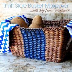thrift store basket makeover #texturedsurface (2)