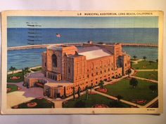 Vintage Municipal Auditorium, Long Beach, CA postcard postmarked 1937