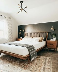 Bed Frame Queen With Headboard Bedroom Bed, Home Decor Bedroom, Bungalow Bedroom, Bedroom Decor Wallpaper, Master Bedroom Decorating Ideas, Industrial Bedroom Decor, Adult Bedroom Ideas, Bright Bedroom Ideas, Bedding Decor