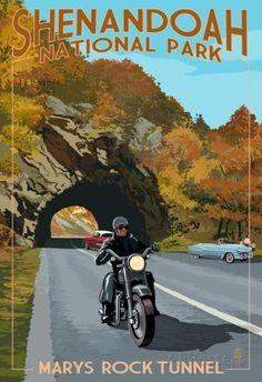 shenandoah national park poster   ... shenandoah national park virginia marys rock tunnel motorcycle posters