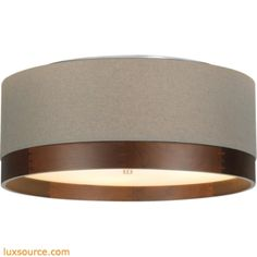 Topo Flushmount Ceiling - Heather Gray/Walnut Wood - Compact Fluorescent