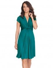 Green Knot Front Maternity Dress