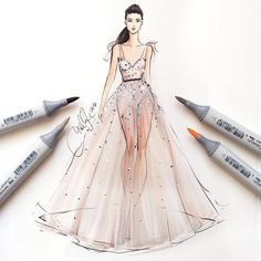 Lovely fashion illustration with Copic markers
