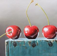 """"""" Three Cherries """" oil painting on canvas by Lauren DiBenedetto"""