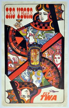 Las Vegas TWA, 1960 - original vintage poster by David Klein listed on AntikBar.co.uk