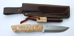 EnZo Trapper / Knife / Curly Birch with Firesteel Bushcraft Sheath / Scandi
