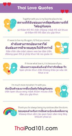 Learn how to say I love you in Thai and the top romantic phrases that will help you attract your soul mate. You'll also get your free love cheat sheets! Thai Phrases, Love Phrases, Thailand Language, Thai Alphabet, Learn Thai Language, Thai Dating, Thai Words, Language Quotes, Romantic Words