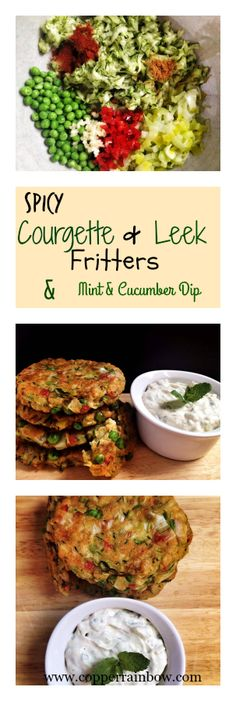 Vegan courgette, pea, leek and chilli chickpea fritters served with a cooling mint and cucumber cashew dip , perfect for lunch or main course