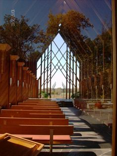 Powell Gardens MO Autumn memorial chapel reflecting the trees behind me photo by Marti Schuller Powell Gardens, Out Of The Woods, Organic Architecture, Botanical Gardens, Missouri, Serenity, Trees, Autumn, Photography