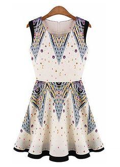 Fashion A Line Summer Hot Pattern Print Sleeveless Dress