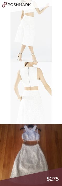 NWT BCBG Maxazria white Ellyson two piece dress! NEW beautiful BCBG white lace embroidered mesh two piece dress! Size XS. Never worn. Features pockets in the skirt. Lined inside. Top measures 16 inches pit to pit and 13.5 inches from shoulder to bottom of top. Skirt measures 13.5 inches waist flat. And 27 inches long. Retails for $448. Bundle and save! BCBGMaxAzria Dresses
