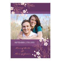 Coral Plum Floral Photo Wedding Invitation Cards