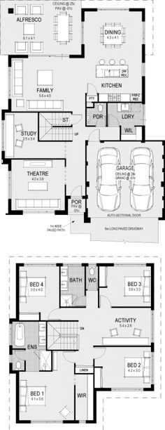interior home design ideas Double Storey House Plans, 2 Storey House, Storey Homes, Dream House Plans, Modern House Plans, House Floor Plans, Latest House Designs, House Blueprints, Sims House