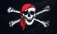 NEW 3x5 Pirate w/ Red Bandana 3 x 5 Jolly Roger Banner by NEOPlex. $4.99. Easy flag pole attachment. Vivid graphics & colors. Super polyester for long lasting durability. 2 brass grommets firmly attached to heavy canvas on inner fly side. Color fast to reduce fading. This 3 x 5 foot novelty flag is made from super polyester that is durable, yet lightweight enough to fly in even the lightest breeze. It has 2 brass grommets firmly attached to heavy canvas on the inner fly side. ...