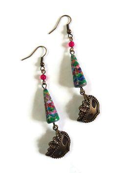 Boucles d'Oreilles Perles en Papier Masque de Venise - Multicolores Bronze : Boucles d'oreille par cap-and-pap