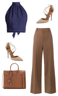 """Untitled #103"" by fa-ye ❤ liked on Polyvore featuring CECILIE Copenhagen, Chloé, Aquazzura and Yves Saint Laurent"