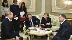 Rusland, Oekraïne, Frankrijk en Duitsland bereikten een akkoord over een staakt-het-vuren in Oost-Oekraïne. Om middernacht zondag 15 februari 2015 ging een bestand in.