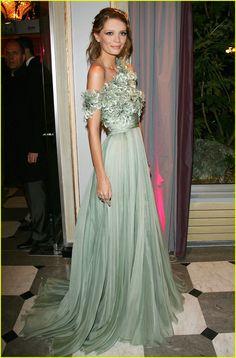 Lovely green asymmetrical gown.