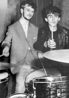 1961, November 10, Ringo Starr of Rory Storm and the Hurricanes and George Harrison of the Beatles at the backstage of the Tower Ballroom, New Brighton.