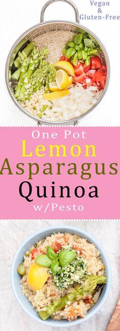 Easy n' Healthy One Pot Lemon Asparagus Quinoa Recipe with an Arugula Pesto (Rocket) /// Naturally Vegan & Gluten-free   VeganFamilyRecipes.com   #dinner #meal #vegetables