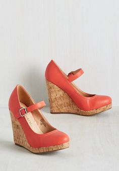 Shoe Got What I Need Wedge - Coral, Solid, Work, Vintage Inspired, 70s, Good, Wedge, Mary Jane, Pink, Saturated, High, Faux Leather, Platform