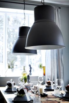 The HEKTAR pendant lamp provides a pleasant light for dining and spreads a good directed light across your dining table. Room Lights, Ceiling Lights, Large Pendant Lighting, Pendant Lamps, Pendant Lights, Sofa Set Designs, Kitchen Organisation, Interior Design Advice, Modern Interior