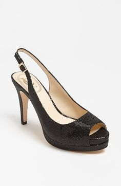 sparkly black peeptoe pumps