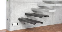 RoomStone® – exclusive fair-faced concrete products, self-supporting cantilevered staircase, cantilevered staircase, concrete staircase, trash can, container, mailbox