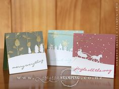 "These cute Christmas cards featuring the Jingle all the Way stamp set, Sleigh Ride Edgelits and Winter Wonderland Designer Vellum are a tiny 3"" (7.5 cm) square. Check out the blog post to see how they are packaged! www.creativestamping.co.nz 