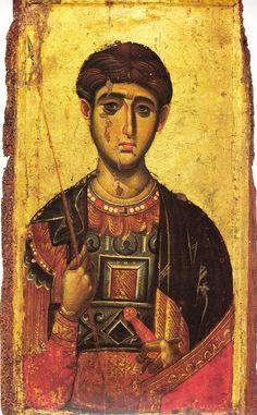 St. Demetrios. ca 1300. Egg tempera on wood panel. 88 cm x 52 cm. Panselino's workshop at the Vatopedi Monastery.