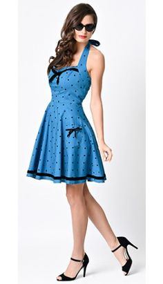 Hell Bunny Retro Pin-Up Blue Dot Jolene Halter Flare Dress