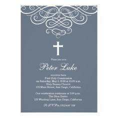 Modern Elegant Cross Communion Invite for Boys
