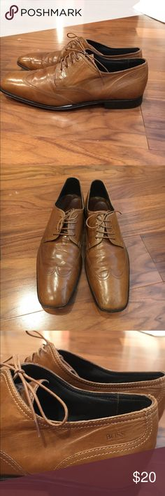 Men Hugo Boss dress shoe. Sz 7. Brown Boss Oxford shoes. Leather upper. Leather sole. Condition shown as photo. Hugo Boss Shoes Oxfords & Derbys