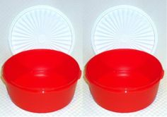 Tupperware 2-pc Classic Stacking Canisters Red by Tupperware. $20.75. Dishwasher Safe. Cherry red canisters with white seals.. Set of 2 - 8 cups each.. One Touch Instant Seal. These ever popular bowls offer all-in-one serving and storage convenience. Seals lock in freshness with a single touch.  Perfect for the kitchen and the outdoors.