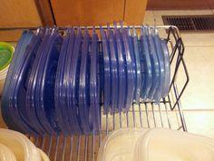 Genius idea! Wire CD rack for organizing lids!
