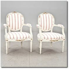 2 Armchairs Gustavian- Swedish Furniture From Bukowski Market-Gustavian, Gustavian Furniture, Rococo Swedish, Swedish Antiques, Swedish Auct...