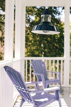 Cobalt lighting, lavender lawn chairs make for the perfect spring porch! Bathroom Light Fixtures, Ceiling Light Fixtures, Ceiling Pendant, Pendant Lighting, Bathroom Lighting, Ceiling Lights, Lawn Chairs, Vintage Shops, Sydney