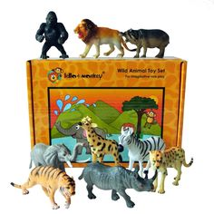 Safari Animal Figures boxed set of 9
