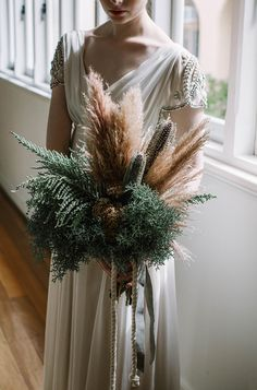 Bouquet.  Styling | Tiffany Keal Creative Studio Photography | White Ash #pampas #beauty #wedding
